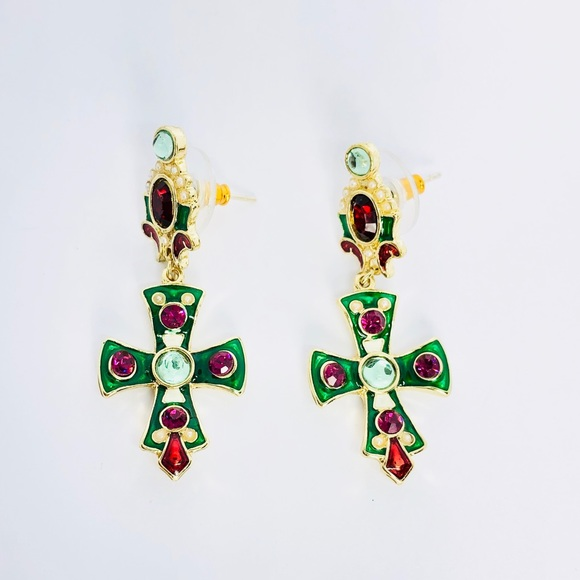ca5bd5842 Kate Stylist Jewelry | Newpink Crystals Green Cross Dangle Earrings ...
